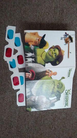 Shrek DVD set. 2 regular movies. 1 is 3D. and 1 bonus dvd. 4 pair 3D glasses. for Sale in Warwick, RI
