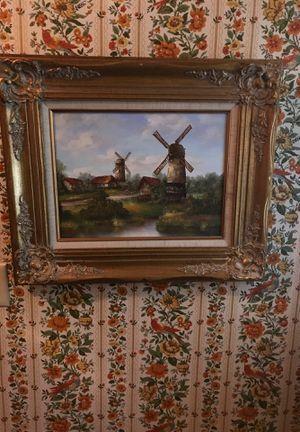 Landscape with windmills, oil on canvas for Sale in Morton, IL