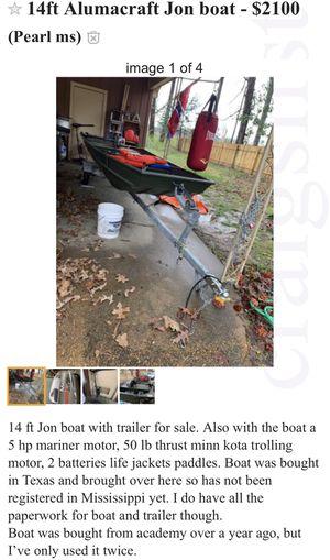 14ft Alumnacraft Jon Boat for Sale in Pearl, MS