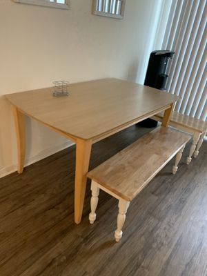 Wooden kitchen table and Benches for Sale in Los Angeles, CA