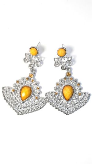 Yellow stone and silver earrings for Sale in Columbus Air Force Base, MS