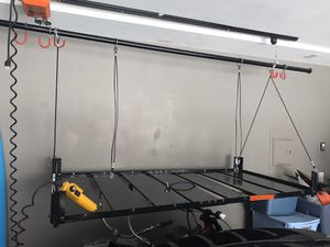 Garage Lift Garage Gator 220lbs Lift- 8 bike storage Lift and 3x6 Storage Platform--Like New! keeping up so buyer can see working- Retail is $620 for Sale in Lakewood, CA
