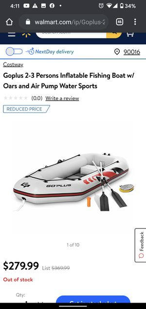 Goplus 2-3 Persons Inflatable Fishing Boat w/ Oars and Air Pump Water Sports OP3691GR for Sale in Vernon, CA