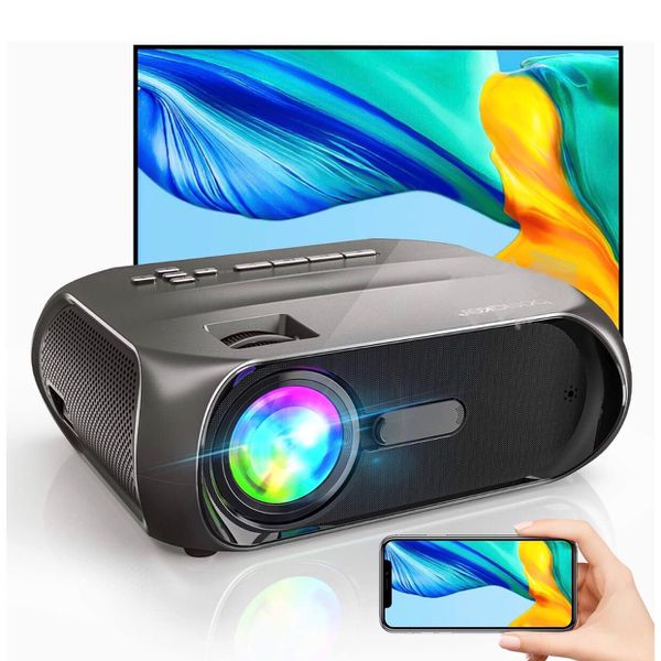 Wi-Fi Mini Outdoor Projector, Portable Projector for Outdoor Movies, 6000Lux, Full HD 1080P Supported, Wireless Mirroring by WiFi / USB Cable, for iPh
