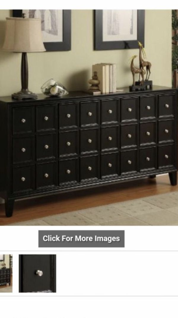 "Black credenza 700. Excellent condition. Shelf's inside 67""W x 14.5""D x 35""H Urban Black Credenza Apothecary-inspired, but thoroughly contemporary"