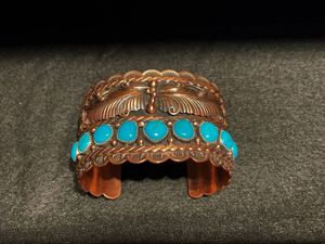 Beautiful!! RUNNING BEAR Native American Indian Copper Sterling Silver Turquoise Cuff Bracelet Mint for Sale in Los Angeles, CA