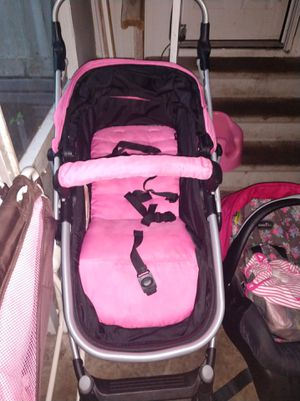 Evenflo car seat with locking base, Urbini stroller, fisher price rock and play also bumbo chair just missing strap . All is in good condition asking for Sale in Summerfield, FL