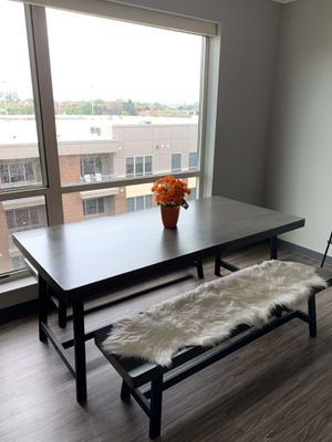 Modern Wooden Dining Table with Benches for Sale in Dublin, OH