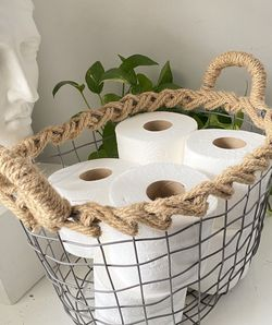 16x11 ANTIQUE NIGHT TABLE WIRE metal & rope linen basket toilet paper holder magazine rack vintage for Sale in Stone Mountain,  GA