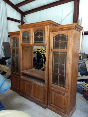 Entertainment Center with Glass Shelves for Sale in Beach City, TX