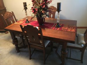 Solid Wood Dining Room Table with Build in Leaf's, 6 Matching Chairs and Matching Hutch. (Cross Posted) for Sale in Cheektowaga, NY