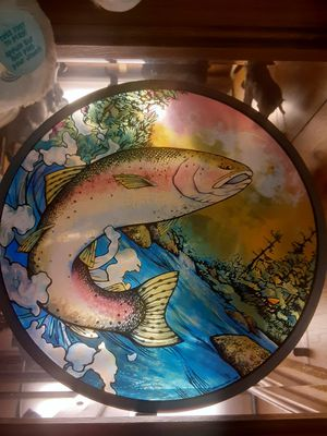 Rainbow trout stain glass decor for Sale in PT ORANGE, FL