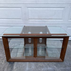 Newer Modern Elegant 3- tier glass shelves TV entertainment center media console. 22W x 48L x 24H. for Sale in Signal Hill, CA