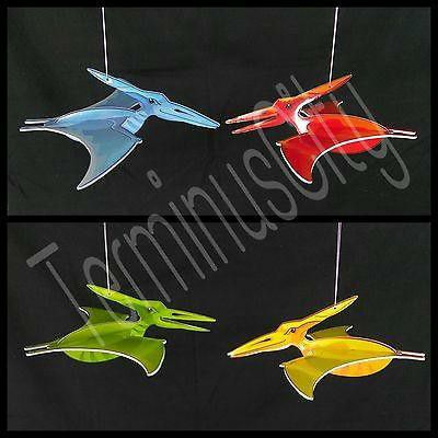 Large Dinosaur Hanging Flying Pterodactyl Set of 4 red blue yellow green nylon strings bird birds Collectible or toy monster horror metalhead