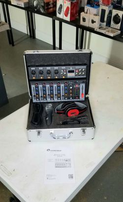 Brand new 6 channel mixer with bluetooth, interface, sound effects. Two wireless microphones, headphones, and carrying case included. for Sale in Miami, FL