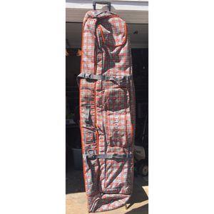 Burton Snowboard Bag Skate Wheelie Dual Board Orange Plaid Travel Rolling Bag 185 cm for Sale in Crystal Lake, IL