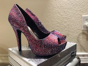 CUSTOM rhinestones Jessica Simpson heels size 6 for Sale in Sachse, TX