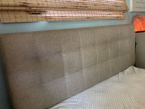 Queen Upholstered Headboard beige/linen look for Sale in Long Beach, CA
