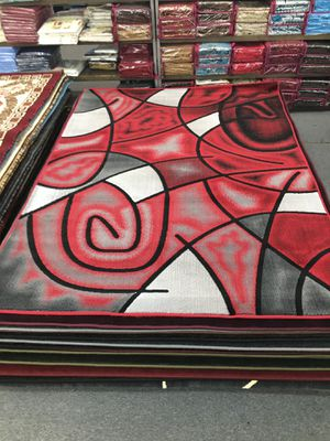 Red and grey color area rug brand new 5x7 foot for Sale in Salem, OR