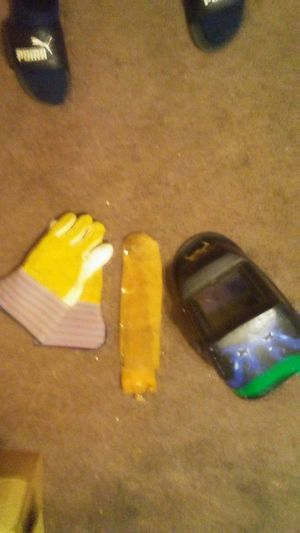 Welding hood gloves and leather rod holder for Sale in Oklahoma City, OK