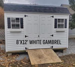 New 8' x 12' White Vinyl Gambrel Shed for Sale in Westford, MA