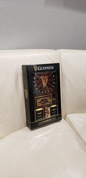 Guiness Irish beer dart board game gift set with dart board, magnetic darts, pub mix, peanuts for Sale in Escondido, CA
