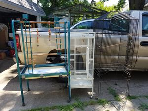 2 bird cages and a large play stand for Sale in Cleveland, OH