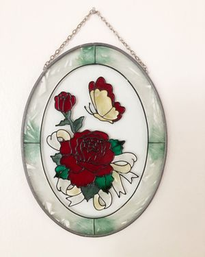Vintage oval stained glass hanging with red roses and butterfly for Sale in Hillsboro, OR
