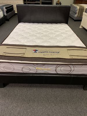 Queen size espresso platform bed includes mattress free delivery for Sale in Arlington, TX