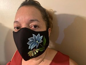 Embroided blue flower face mask for Sale in Peachtree Corners, GA