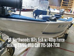 1998 Northwoods 1675 fish w/40hp Force for Sale in Shawano, WI