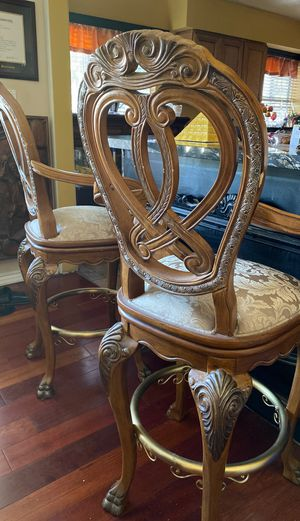 Wooden carved bar stools for Sale in Los Angeles, CA