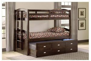 Maddock Twin over Twin Bunk Bed w/ Trundle and Storage for Sale in Philadelphia, PA