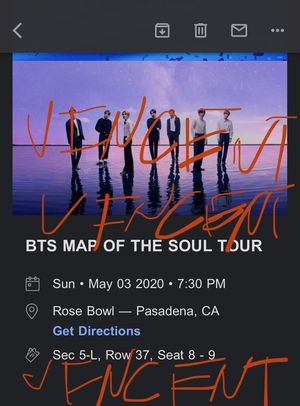 BTS Ticket for Map of the Star Tour May 3 for Sale in Santa Ana, CA