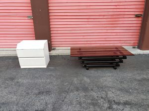 Vintage Postmodern Tubular Coffee Table and Mirrored Retro Nightstand for Sale in Hawthorne, CA