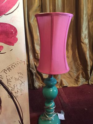 Pink girl table lamp , green glass for Sale in Silver Spring, MD