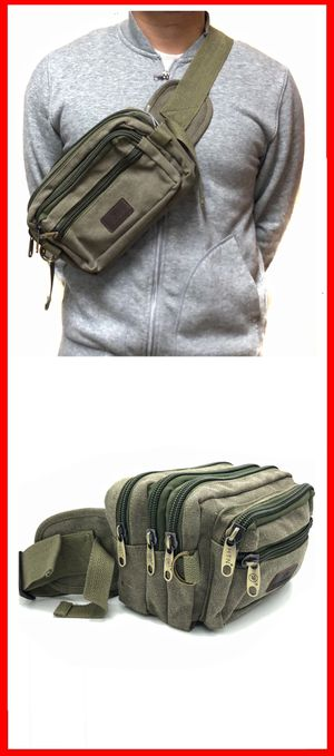 NEW! Canvas side crossbody bag fanny pack travel bag gym bag hiking camping edc pouch waist pack chest bag for Sale in Carson, CA