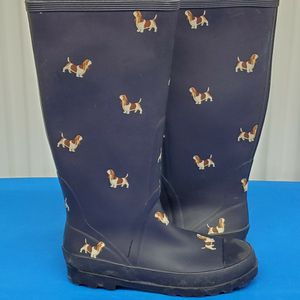 J. Crew women's tall rubber rain boots basset hounds Navy blue Size 8 EXCELLENT USED CONDITION for Sale in Lynnwood, WA