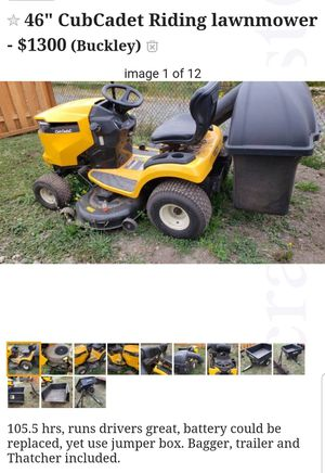 """CubCadet 46"""" with bagger, trailer, thatcher for Sale in Buckley, WA"""