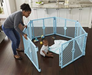 """Toddleroo by North States Superyard Indoor-Outdoor Play Yd: Safe Play Area Anywhere 18.5 Sq.'. Enclosure (26"""" Tall, Sky Blue, 6-Panel) for Sale in Las Vegas, NV"""