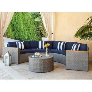 Outdoor patio sectional sofa round half-moon set furniture wicker backyard waterproof sectional sofa coffee table for Sale in Norco, CA