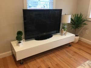 Low Profile Long White TV Stand for Sale in Natick, MA