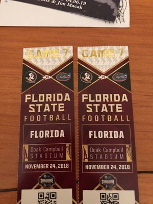 Uf FSU 2 tickets sec 11 row 82 seat 9 and 10 for Sale in Tallahassee, FL