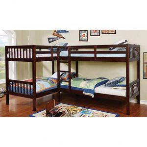 DARK WALNUT FINISH QUADRUPLE TWIN SIZE BUNK BED / LITERAS CAMAS for Sale in Riverside, CA