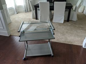 Desk, small glass moveable desk. for Sale in Cumming, GA