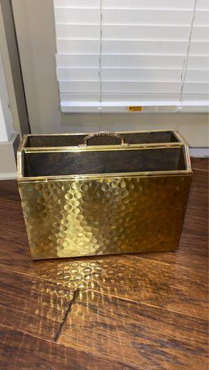 mid century brass magazine rack for Sale in Dallas, TX