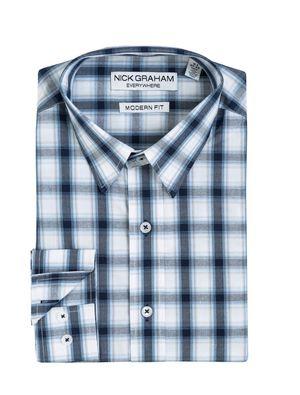 Mens NICK GRAHAM Everywhere Modern-Fit Dress Shirt, XL / BLACK BLUE CHECK for Sale in Houston, TX