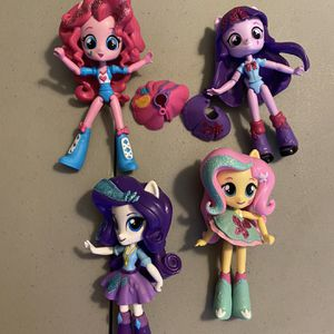My Little Pony, Equestria Girls Minis, Sparkle Collection. Includes mini dolls of Rarity, Fluttershy, Twilight Sparkle, and Pinkie Pie. Dolls are 4 t for Sale in Bradenton, FL