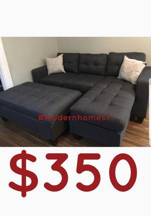 grey sectional sofa with ottoman +2pillows reversible sleeper couch for Sale in Buena Park, CA