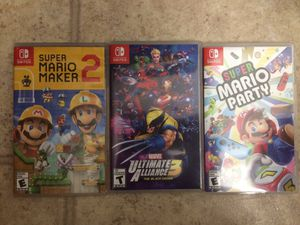 Super Mario Maker 2, Marvel Ultimate Alliance 3, Super Mario Party $40 each or take all for 100 for Sale in Crockett, CA